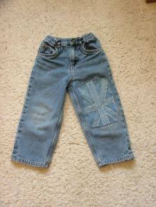 patching boys jeans after